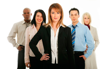 Businesswoman with Employees